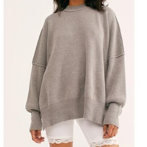 Free People Grey Easy street oversized pullover